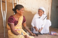 GFA-supported Sisters of Compassion frequently minister to those who suffer from leprosy's disfiguring and damaging effects. The woman pictured lost her leg due to the disease, and the Sisters of Compassion frequently help with her chores, visit her and bring joy to her life.