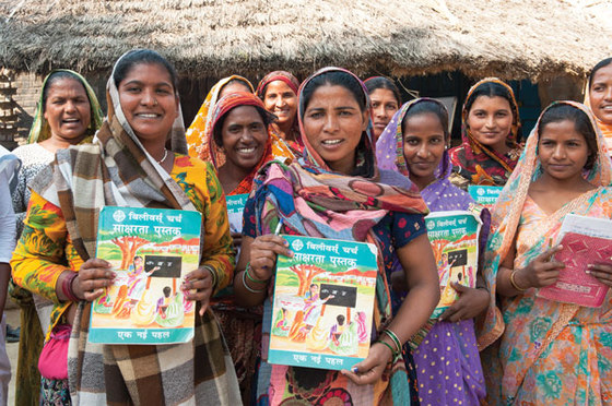Through literacy classes, women who had never before had the opportunity to be educated are learning to read and write.