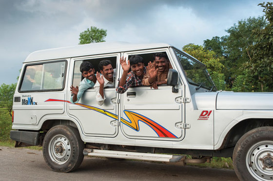 Thanks to their sturdy vehicle, mobile team members can safely travel to remote communities to share films about Jesus.