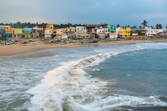Vanathi's coastal village (pictured), once devastated in the 2004 tsunami, is once again a busy fishing town.