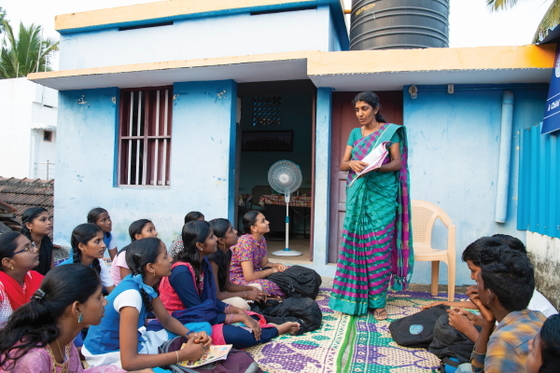 Vanathi and her fellow Bridge of Hope students are greatly impacted by their kind Bridge of Hope teachers, such as Jakki (pictured standing). Students learn to study well and honor each other by their teachers' example.