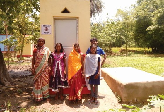 GFA workers installed 500 outdoor toilets, including those pictured here, to provide hygiene and safety for families in need.