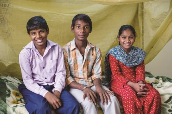 Mosquito nets can help keep entire families safe from infectious bites that lead to malaria or dengue. Babita and her siblings (not pictured) lived in a malaria-prone area and had even contracted the mosquito-borne disease before. They were given mosquito nets at a GFA-supported gift distribution to help keep them safe from future infection.