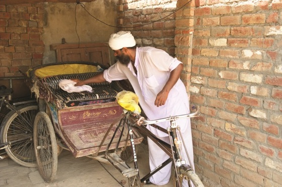Like Bakool's Christmas gift, the rickshaw Jobi Masih received transformed his family's life. Jobi, who had once lived in a tent on the side of the road, was able to buy a plot of land and build a home.