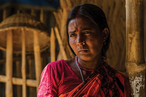 A woman that looks sad.