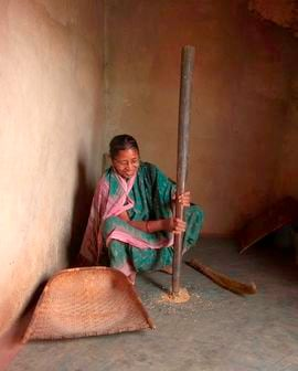 In most villages, everything, including food preparation, is done using old-fashioned methods.