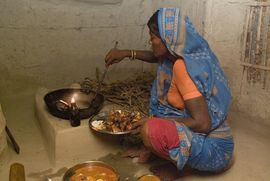 This village woman from the Central Jasidih Region is preparing a meal on a wood-heated stove.
