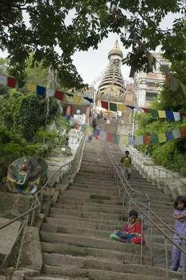 Swayambhunath, located near Kathmandu, is a sacred Buddhist religious site.