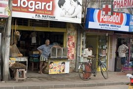 This is a typical street scene from a small town in the Central Sri Lanka Region.