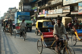 Rickshaws are a common sight in Delhi's bustling streets.