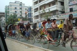 Although only 45,000 drivers hold official rickshaw licenses in the capital city of Dhakha, there are upwards of 400,000 rickshaws crammed into its streets.