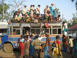 A common sight in both Jharkhand and neighboring Bihar, people catch a ride by sitting on top of a bus or train.