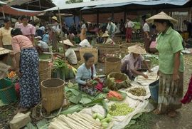 A weekly market brings both buyers and sellers from the local villages.