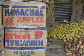 A fruit market displays apples, the state's most famous crop.