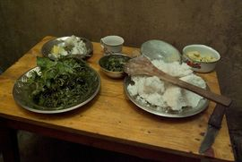 A typical Khasi meal—rice is their staple food.