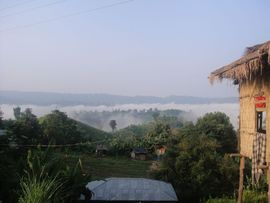 The residents of this Mizoram home have a spectacular view of majestic mountains and fertile river valleys.
