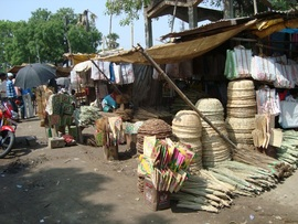 This picture depicts some handicrafts made and sold by villagers in the Mohania Region.