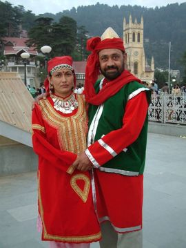 This couple is dressed in traditional Himachal attire. The famous Christ Church is in the background.