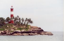 This lighthouse warns ships of danger on Kerala's southern tip on the Arabian Sea.
