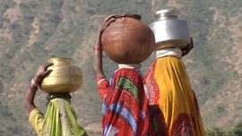 Water shortages are common in South Rajasthan's semi-arid climate. People travel miles to bring home enough water for their families.