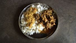 A typical meal in the South Rajasthan Region may include rice, dal and chicken curry.