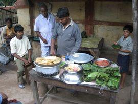 A street vendor offers breakfast in the Southwest Jasidih Region of Jharkhand.