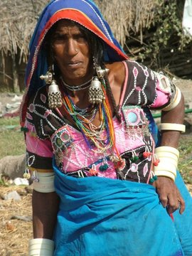 This woman belongs to one of the many tribal groups that inhabit the rural villages of the Telangana Region.