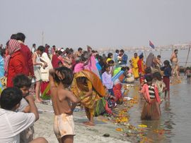 Worshipers and tourists alike visit the Varanasi Region in order to bathe in the Ganges River.