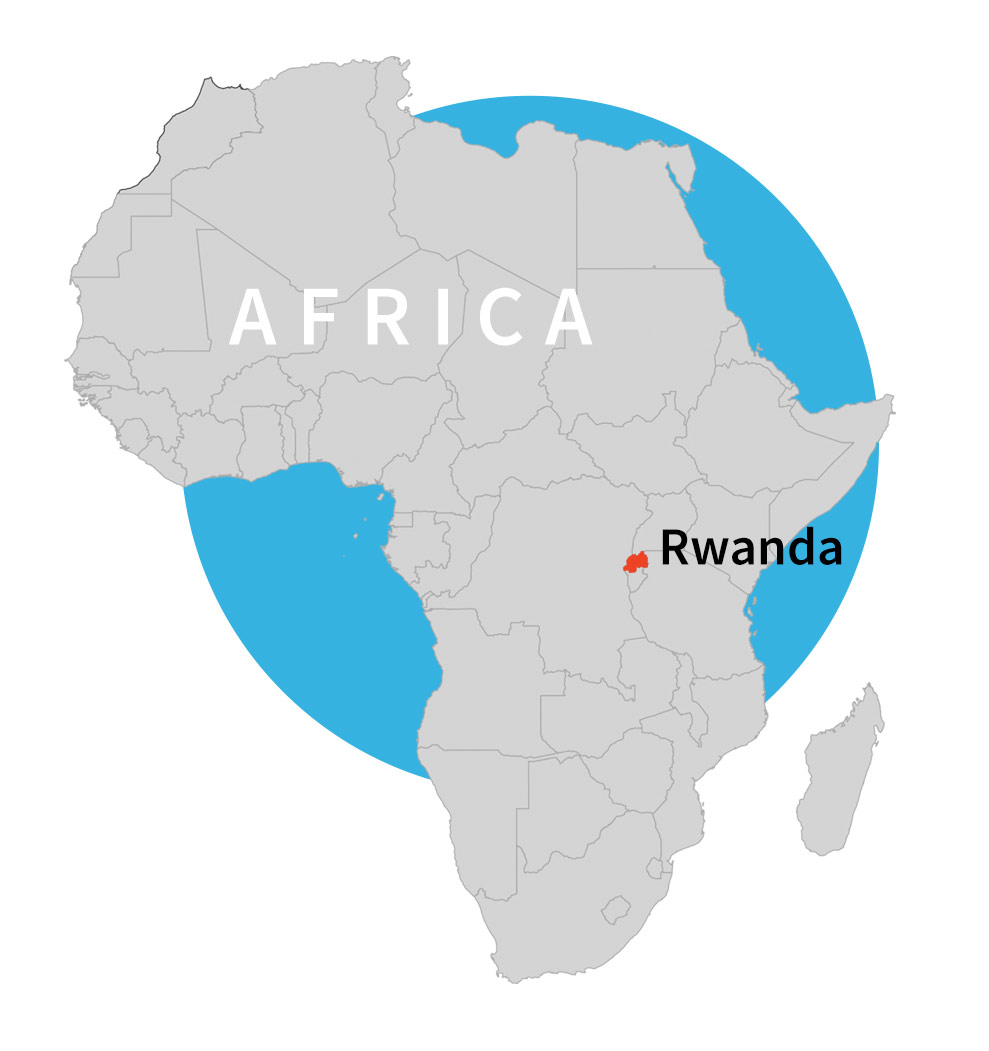 Map of Africa and Rwanda