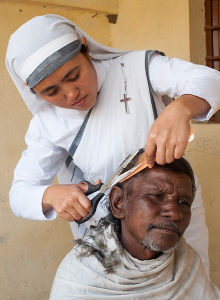 sister of compassion cutting hair