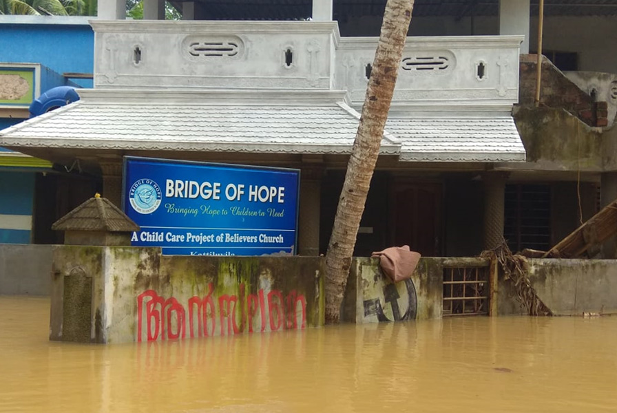 Bridge of Hope Center flooded in Kerala