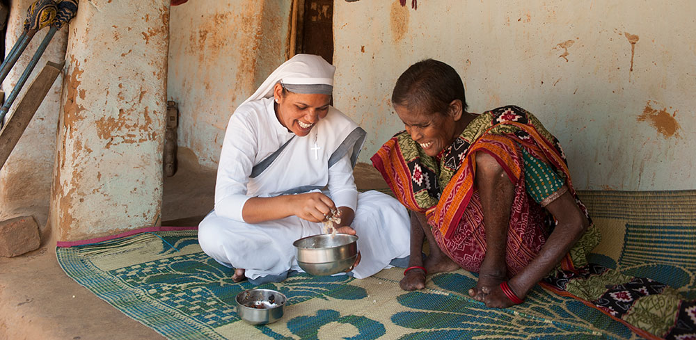 Sisters of Compassion help patients at the leprosy colony