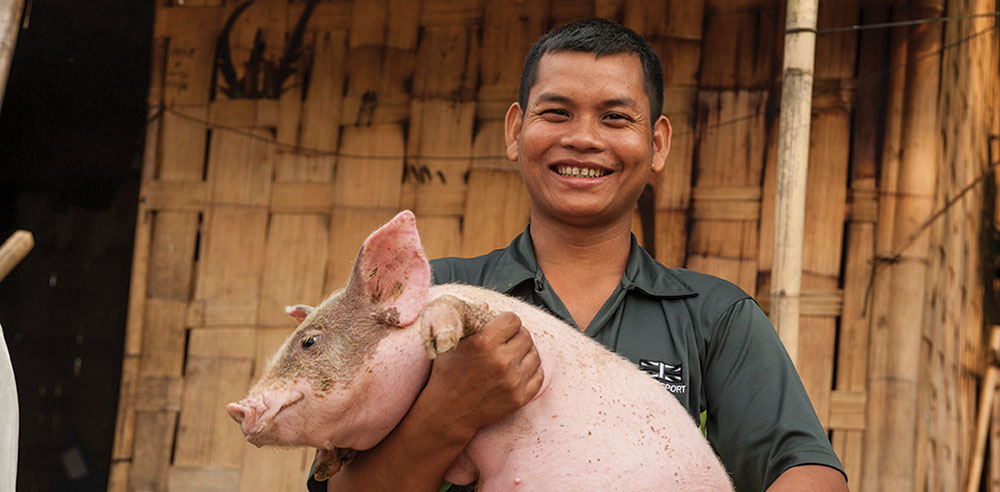 Mahavir with one of his pigs