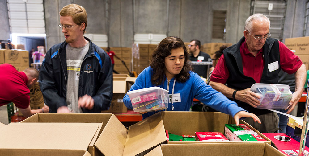 GFA Staff and Students help at an Operation Christmas Child Center